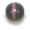 "Cat Eye Beads 8mm Round Purple Strand 16"" Fibre Optic"